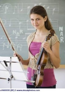 Girl holding violin