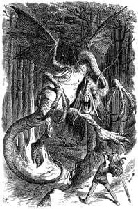 """The Jabberwock, ilistrasyonu"""" John Tenniel"""" tarafından çizimi"""