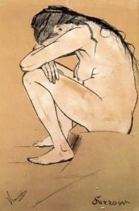 "Clasina Maria Hoornik (Sien)'in ""Sorrow"" isimli resmi. 1882"