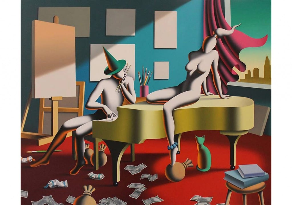 Gallery Baraz, Mark Kostabi, Love, Oil on Canvas 90 x 120 cm 2015